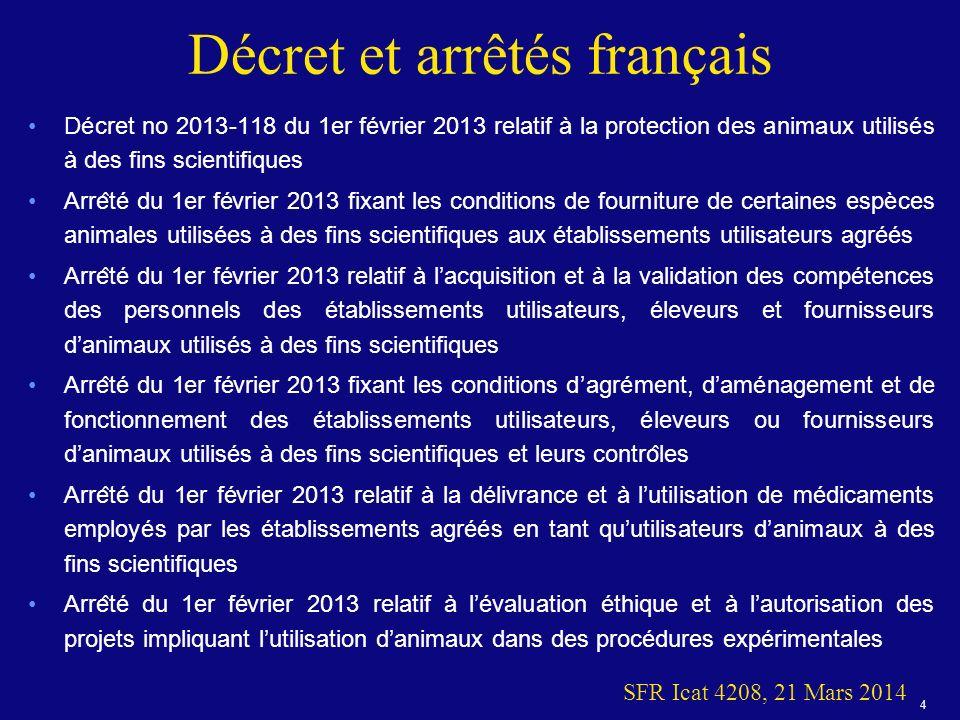 Décret et arrêtés français