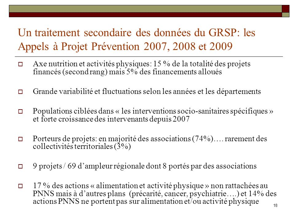 Un traitement secondaire des données du GRSP: les Appels à Projet Prévention 2007, 2008 et 2009