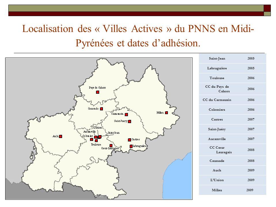 Localisation des « Villes Actives » du PNNS en Midi-Pyrénées et dates d'adhésion.