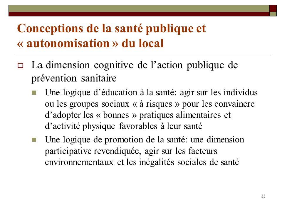 Conceptions de la santé publique et « autonomisation » du local