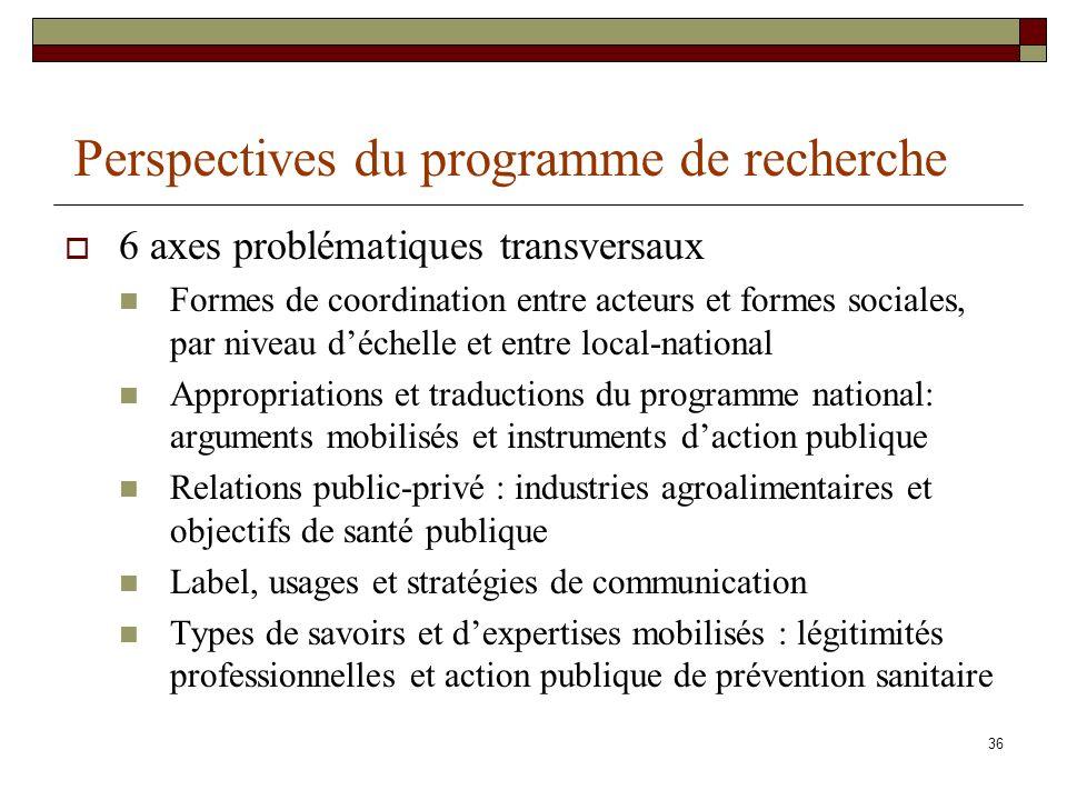 Perspectives du programme de recherche