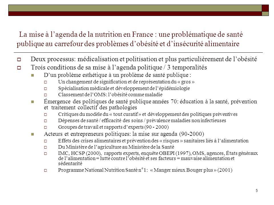 La mise à l'agenda de la nutrition en France : une problématique de santé publique au carrefour des problèmes d'obésité et d'insécurité alimentaire