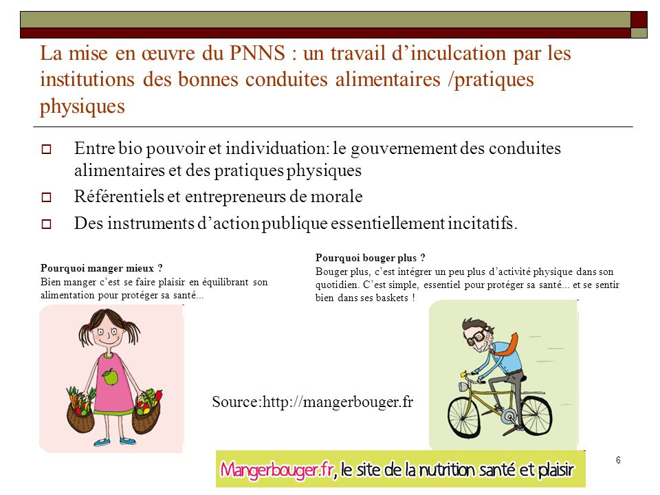 La mise en œuvre du PNNS : un travail d'inculcation par les institutions des bonnes conduites alimentaires /pratiques physiques