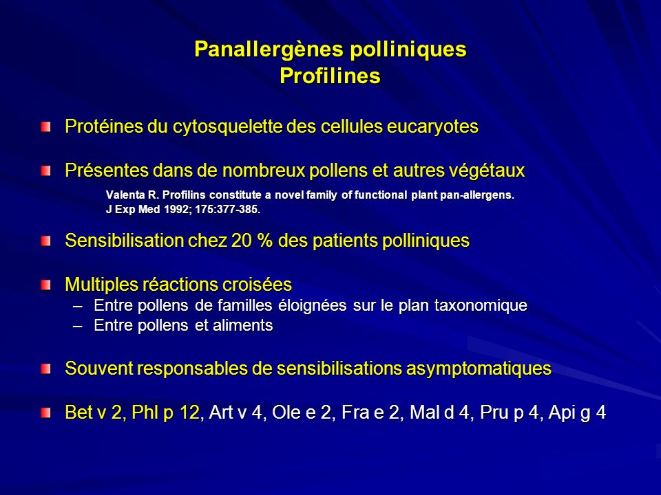 Panallergènes polliniques Profilines