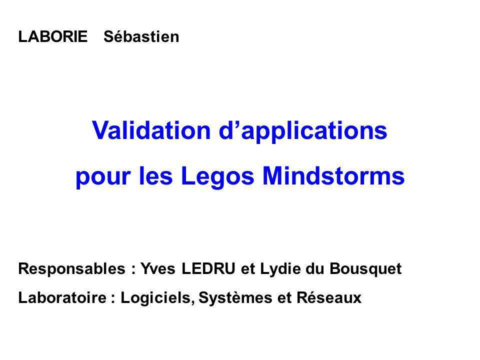 Validation d'applications pour les Legos Mindstorms