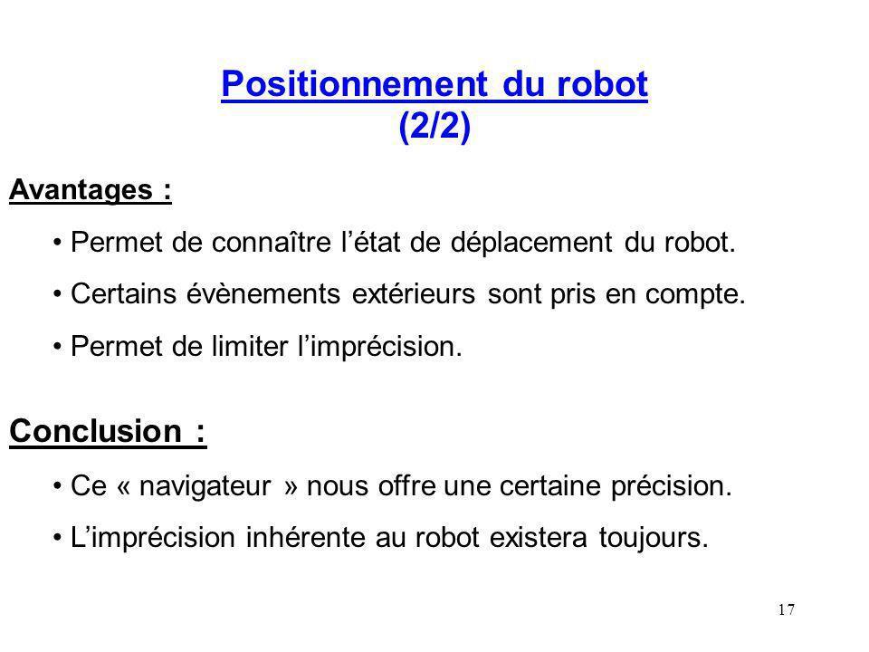 Positionnement du robot