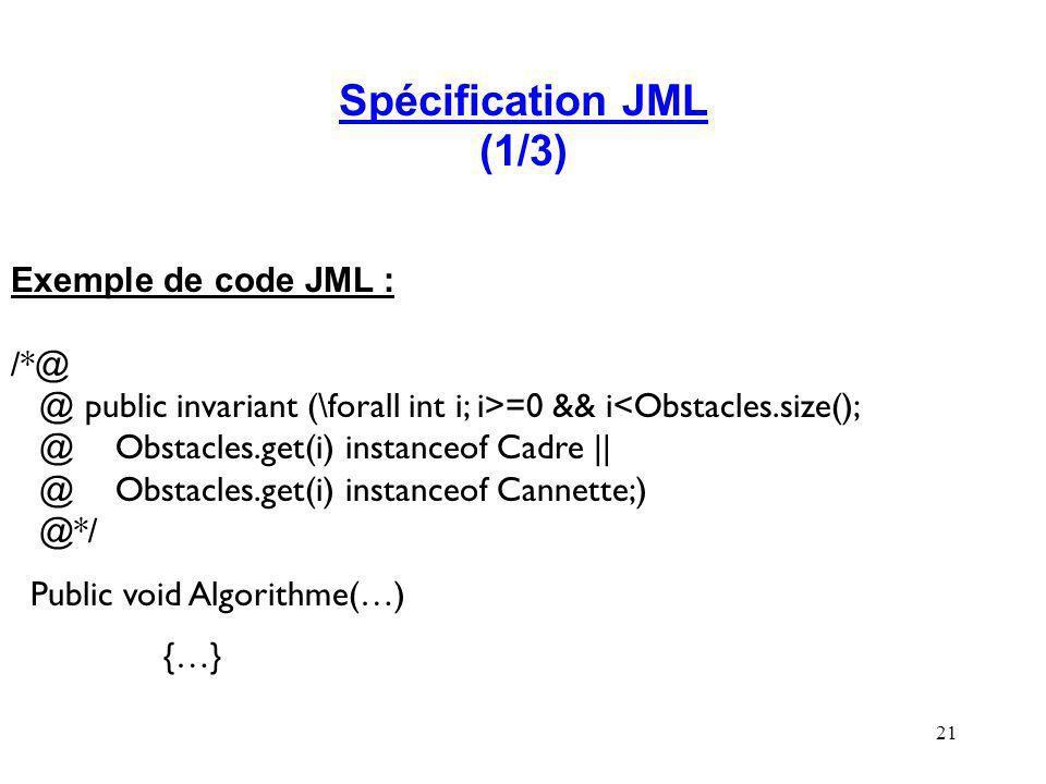 Spécification JML (1/3) Exemple de code JML : /*@