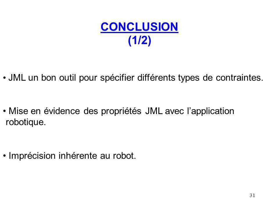 CONCLUSION (1/2) JML un bon outil pour spécifier différents types de contraintes.