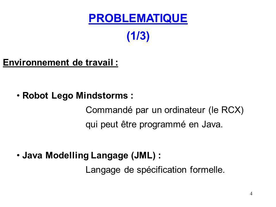 PROBLEMATIQUE (1/3) Environnement de travail : Robot Lego Mindstorms :