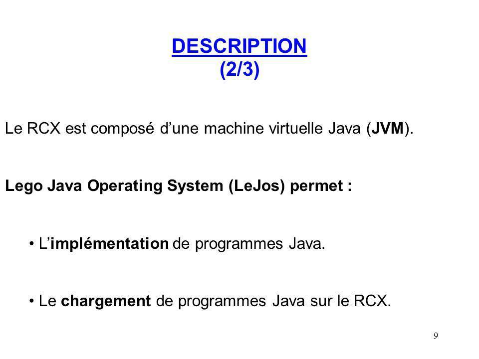 DESCRIPTION (2/3) Le RCX est composé d'une machine virtuelle Java (JVM). Lego Java Operating System (LeJos) permet :