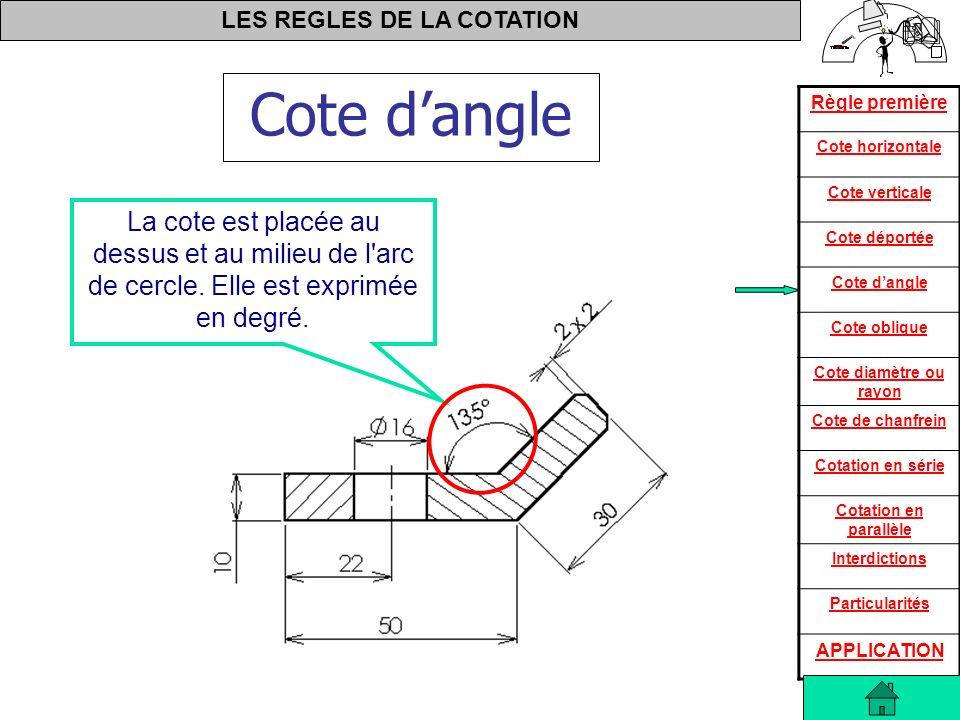 Cote d'angle La cote est placée au dessus et au milieu de l arc de cercle.