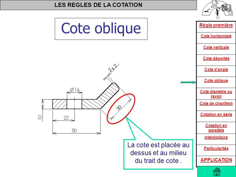 La cote est placée au dessus et au milieu du trait de cote .