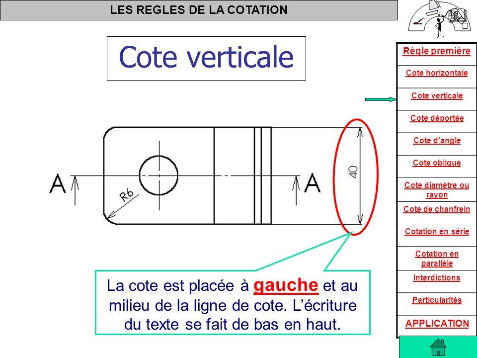 Cote verticale La cote est placée à gauche et au milieu de la ligne de cote.