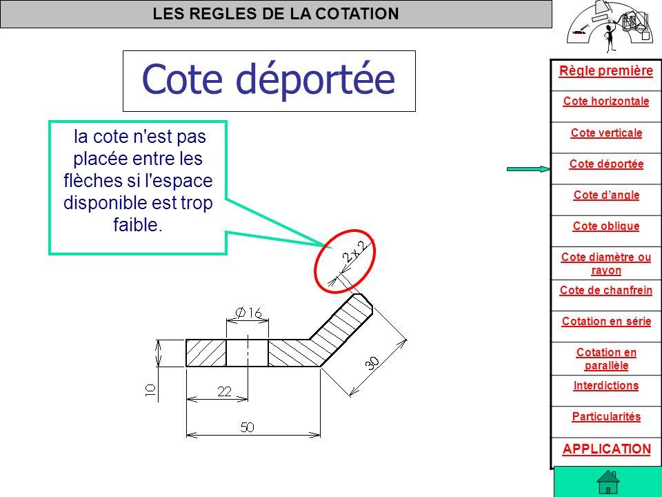 Cote déportée la cote n est pas placée entre les flèches si l espace disponible est trop faible.