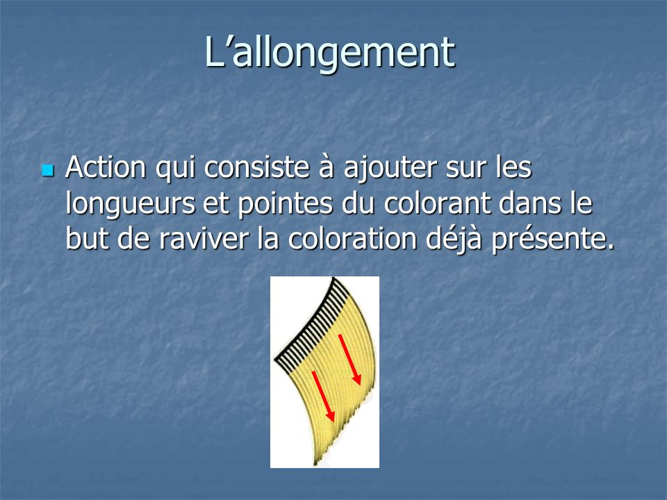 L'allongement Action qui consiste à ajouter sur les longueurs et pointes du colorant dans le but de raviver la coloration déjà présente.