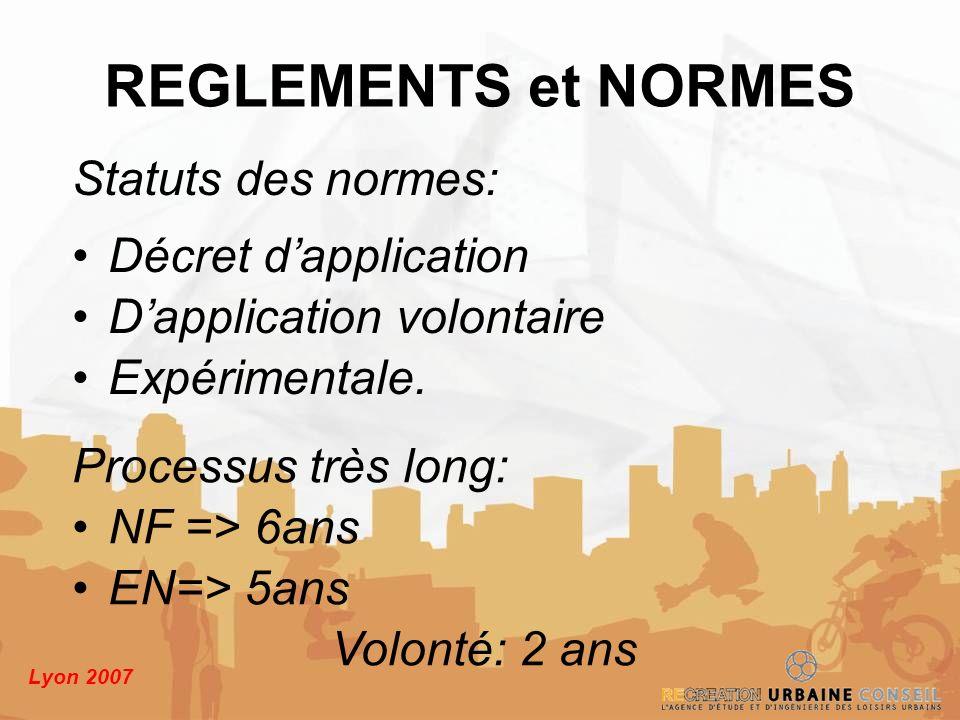 REGLEMENTS et NORMES Statuts des normes: Décret d'application