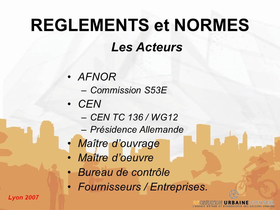 REGLEMENTS et NORMES Les Acteurs AFNOR CEN Maître d'ouvrage