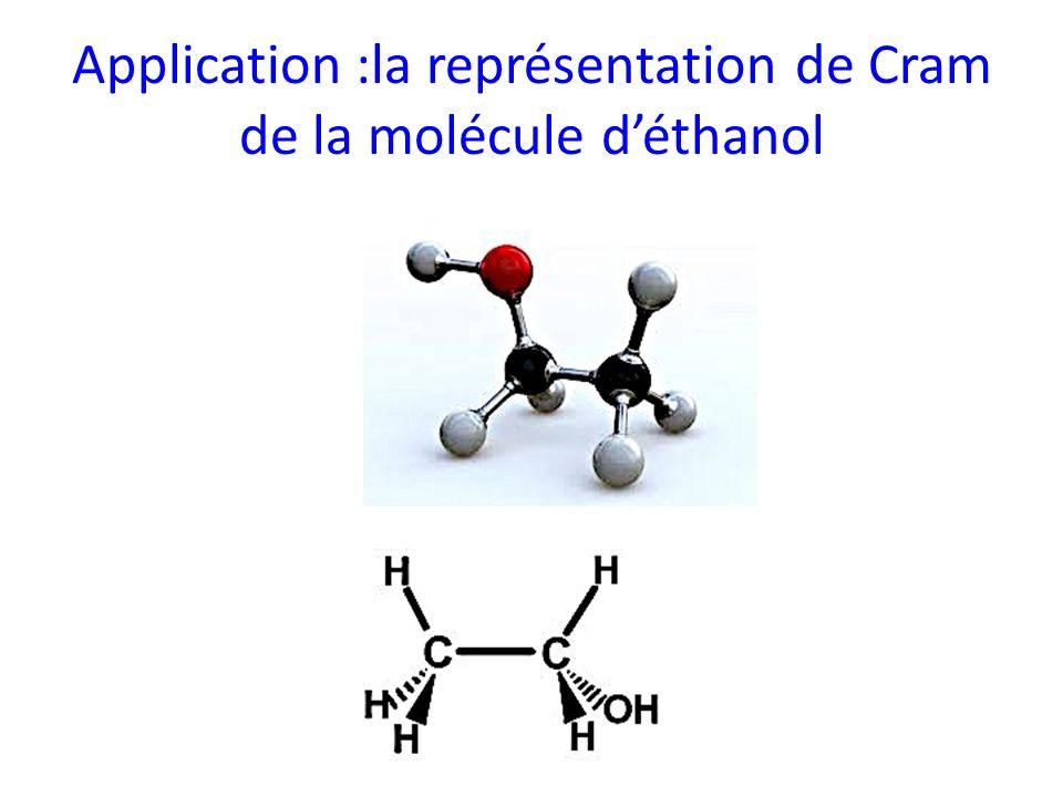 Application :la représentation de Cram de la molécule d'éthanol