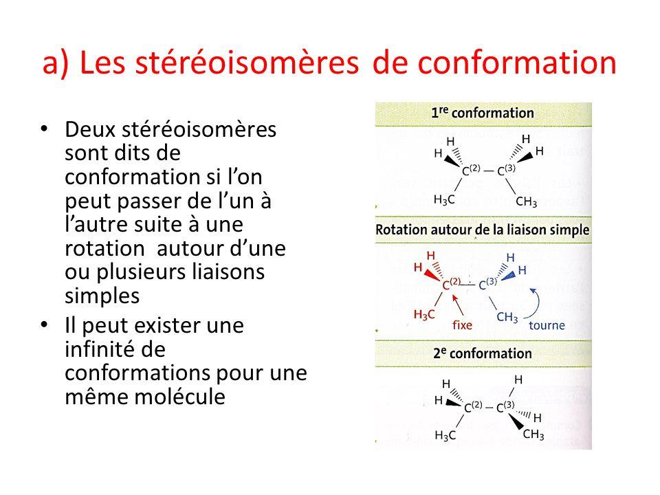 a) Les stéréoisomères de conformation