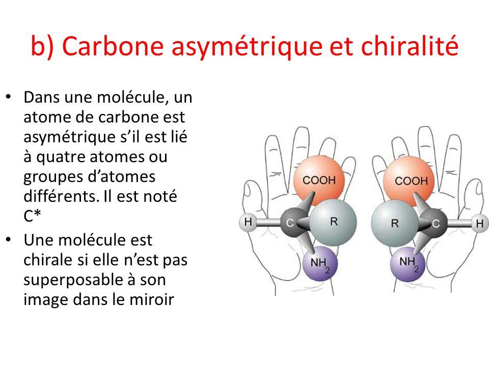 b) Carbone asymétrique et chiralité