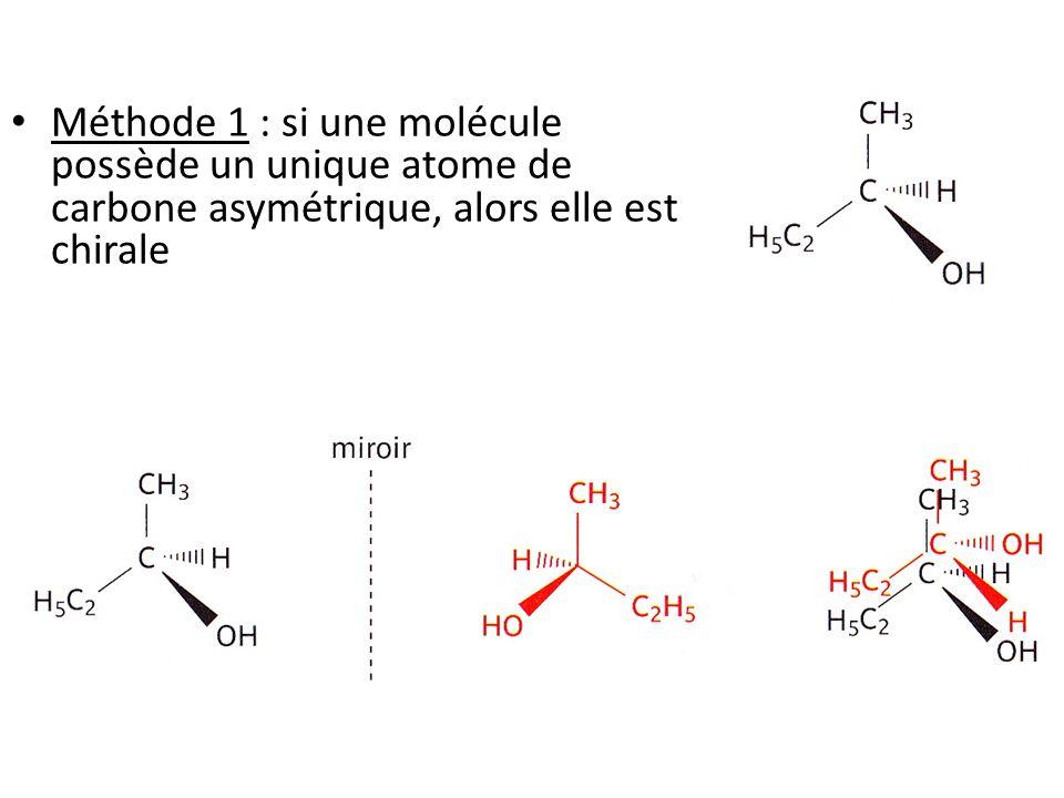 Méthode 1 : si une molécule possède un unique atome de carbone asymétrique, alors elle est chirale