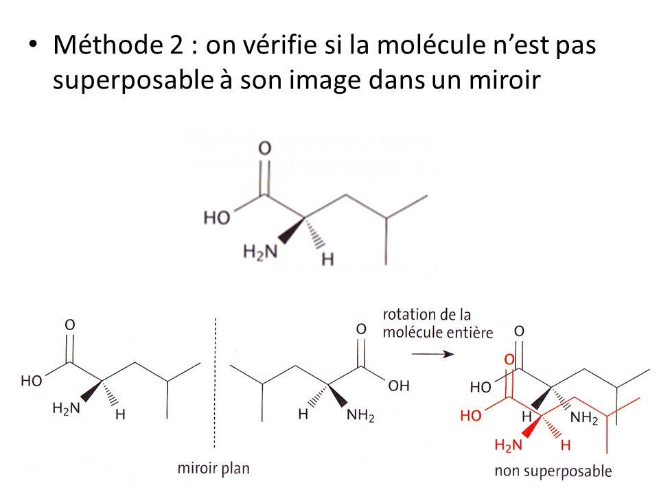 Méthode 2 : on vérifie si la molécule n'est pas superposable à son image dans un miroir