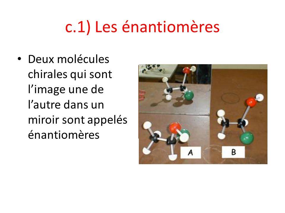 c.1) Les énantiomères Deux molécules chirales qui sont l'image une de l'autre dans un miroir sont appelés énantiomères.