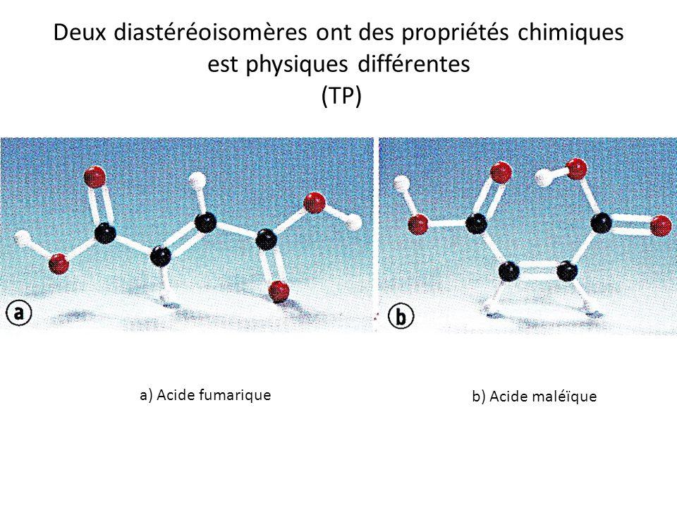 Deux diastéréoisomères ont des propriétés chimiques est physiques différentes (TP)