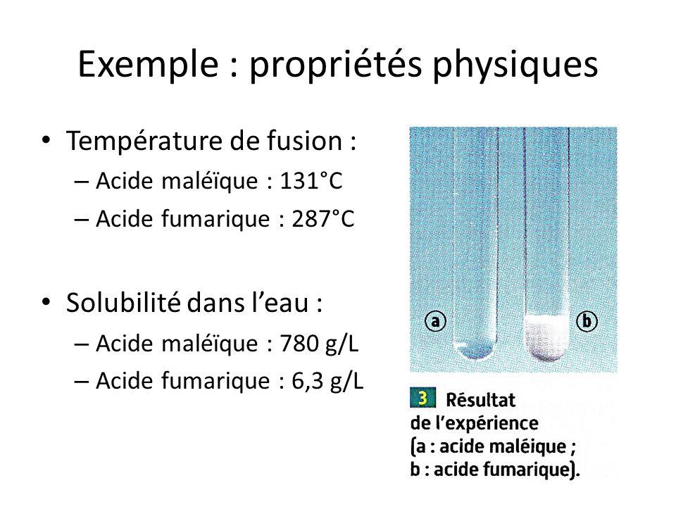 Exemple : propriétés physiques