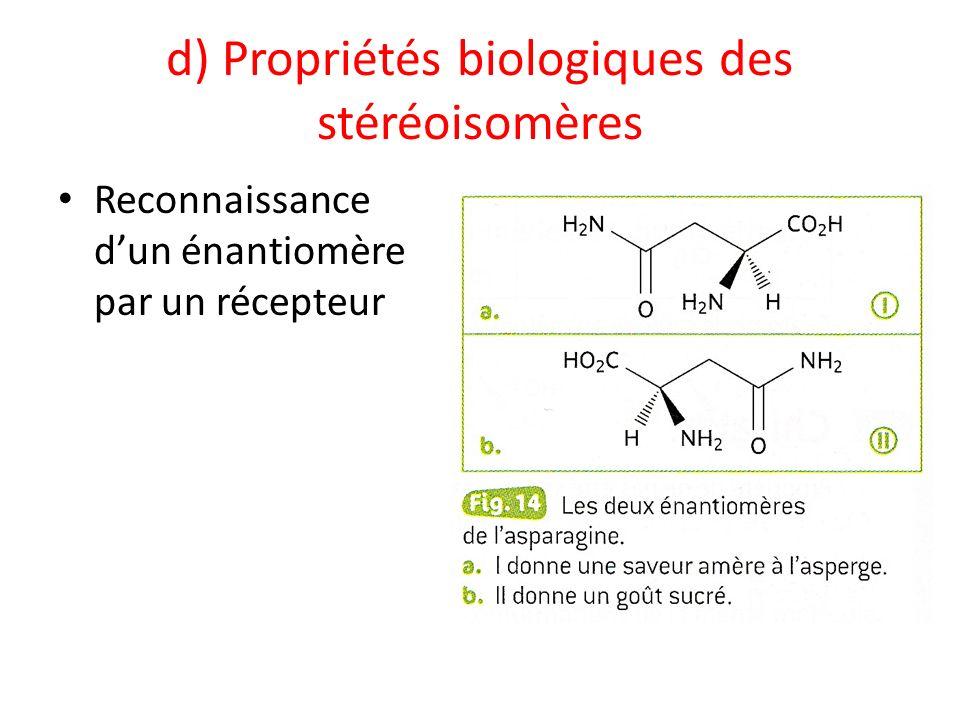 d) Propriétés biologiques des stéréoisomères