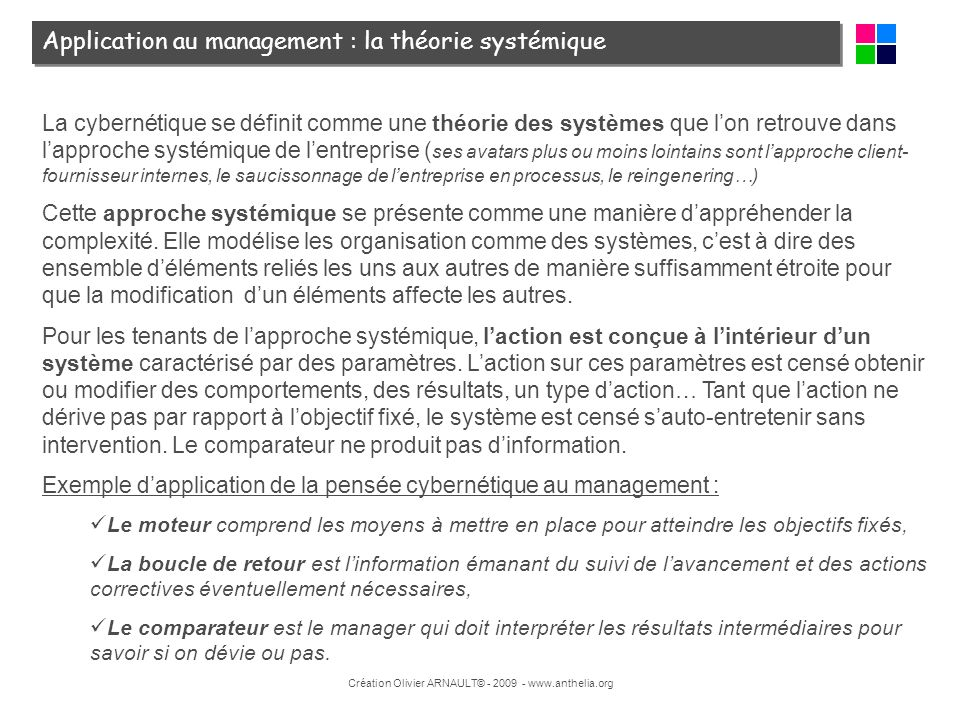 Application au management : la théorie systémique