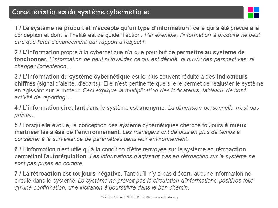 Caractéristiques du système cybernétique