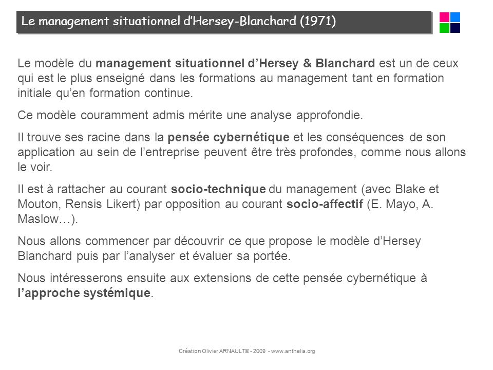 Le management situationnel d'Hersey-Blanchard (1971)