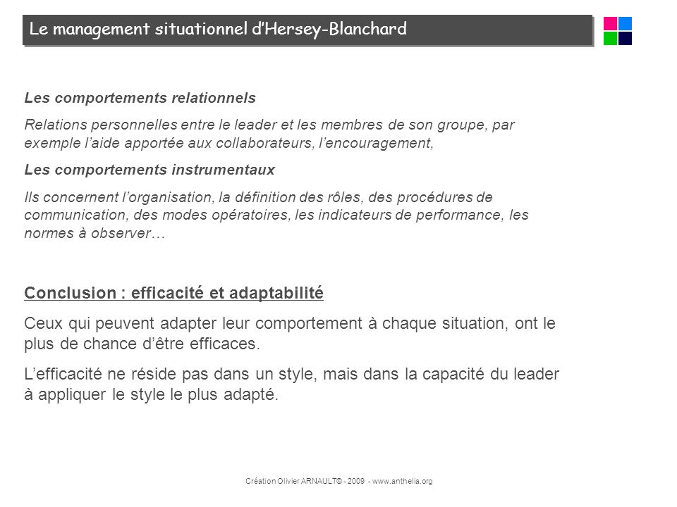 Le management situationnel d'Hersey-Blanchard