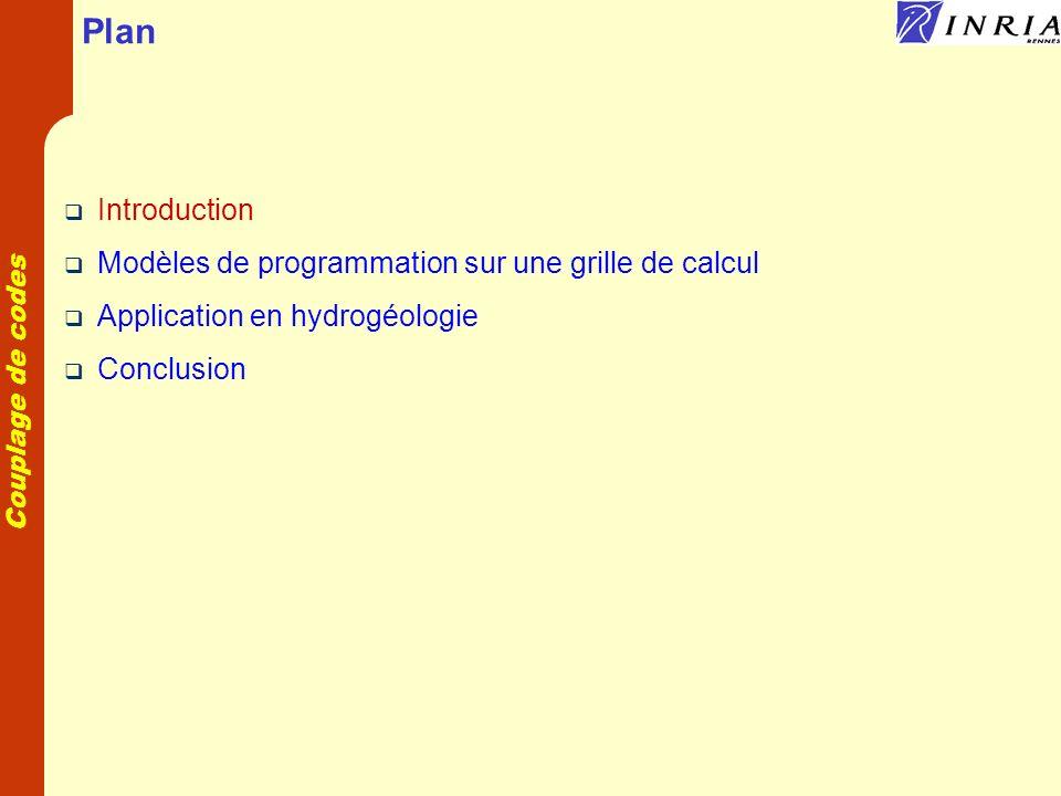 Plan Introduction Modèles de programmation sur une grille de calcul