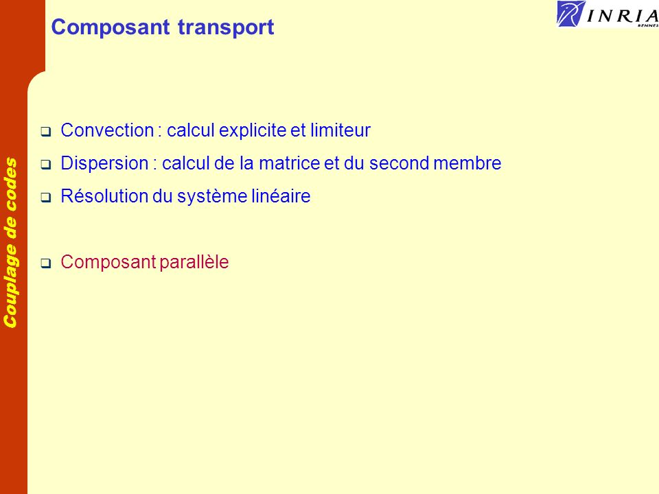 Composant transport Convection : calcul explicite et limiteur