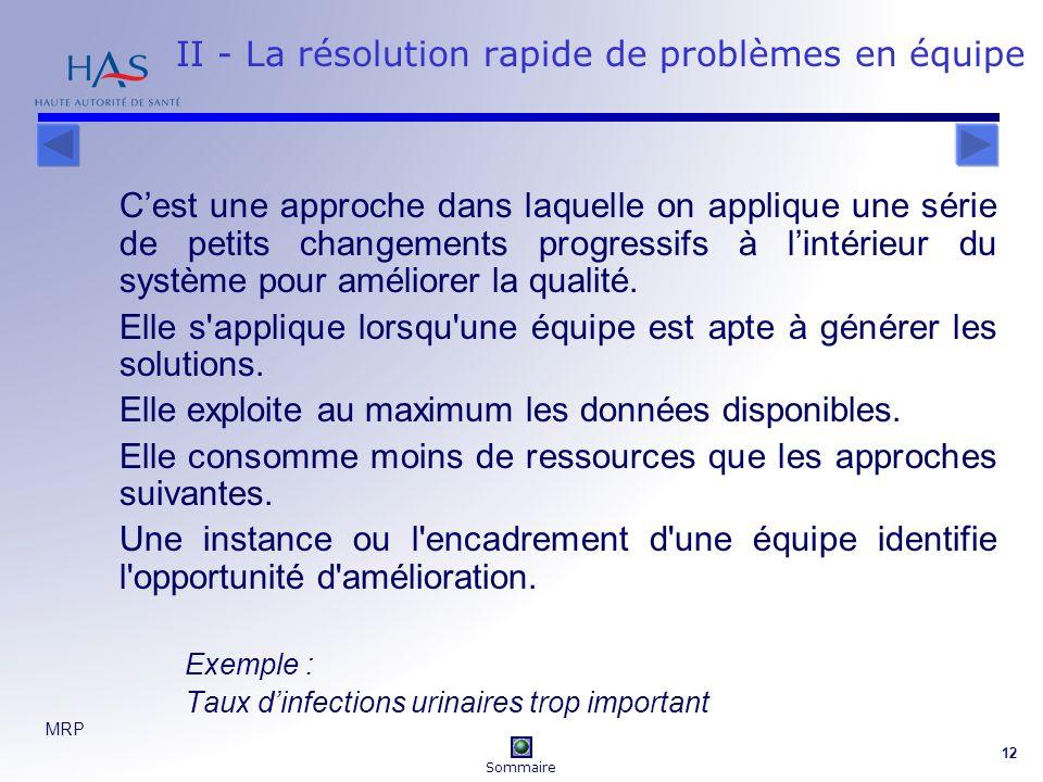 II - La résolution rapide de problèmes en équipe