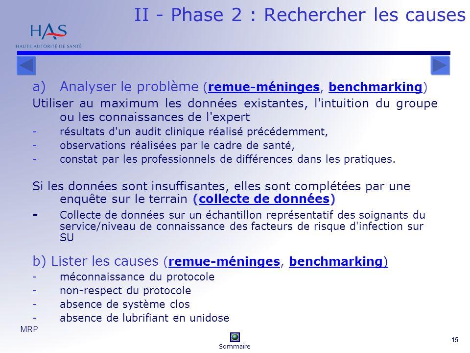 II - Phase 2 : Rechercher les causes