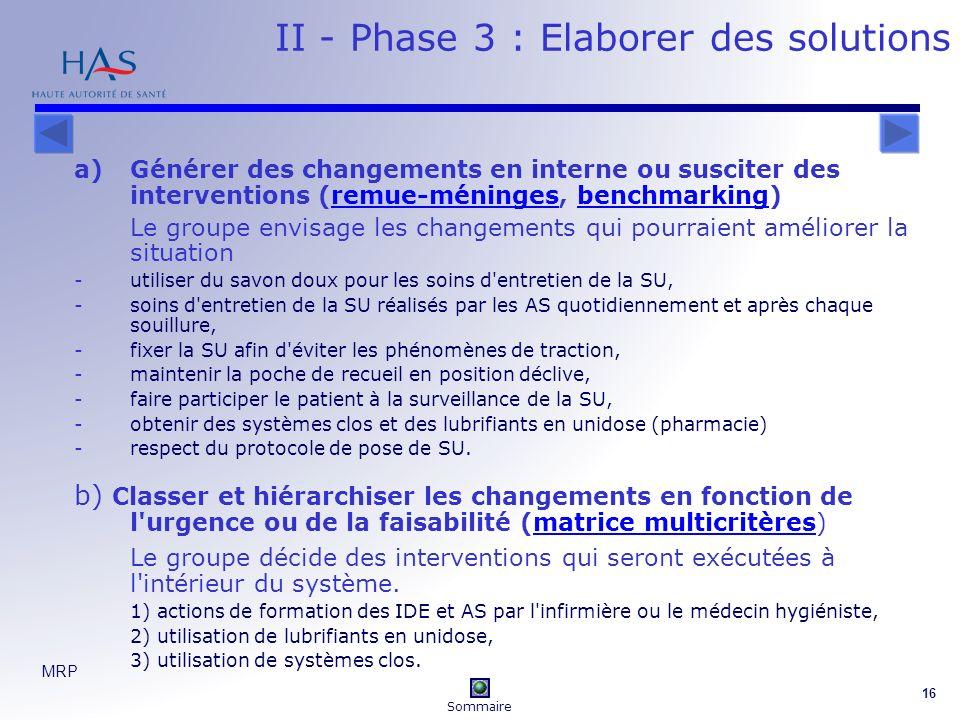 II - Phase 3 : Elaborer des solutions