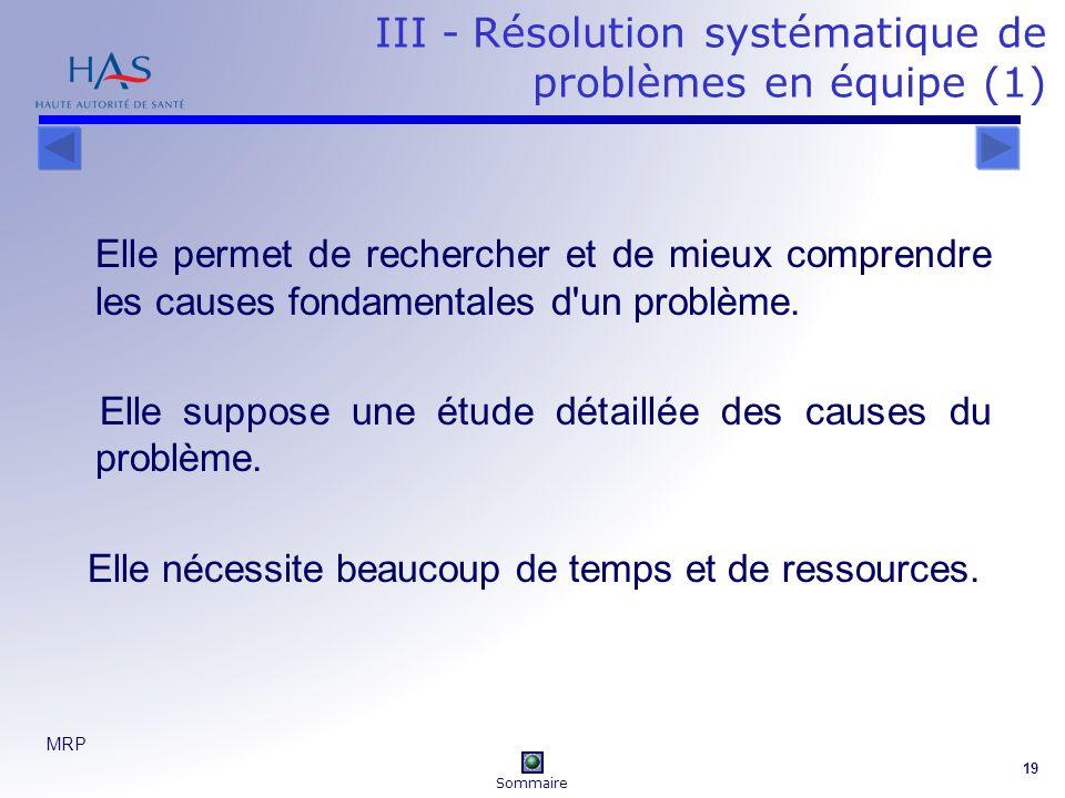 III - Résolution systématique de problèmes en équipe (1)