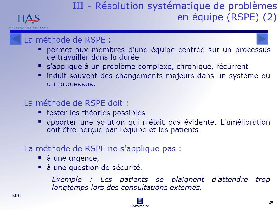 III - Résolution systématique de problèmes en équipe (RSPE) (2)