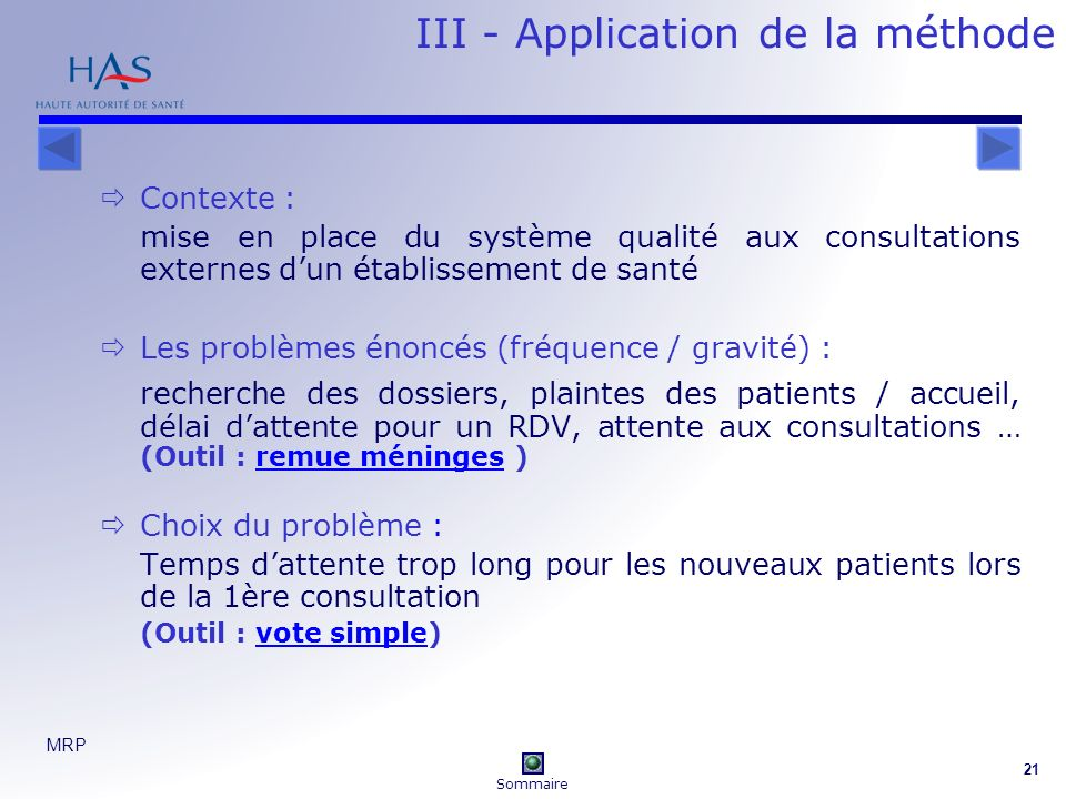 III - Application de la méthode