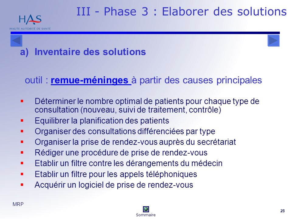 III - Phase 3 : Elaborer des solutions