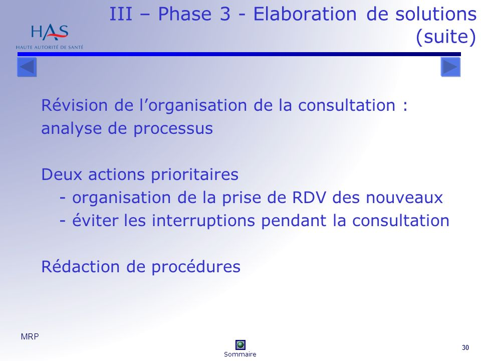 III – Phase 3 - Elaboration de solutions (suite)