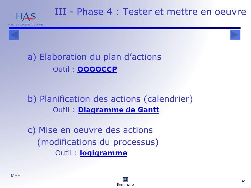 III - Phase 4 : Tester et mettre en oeuvre