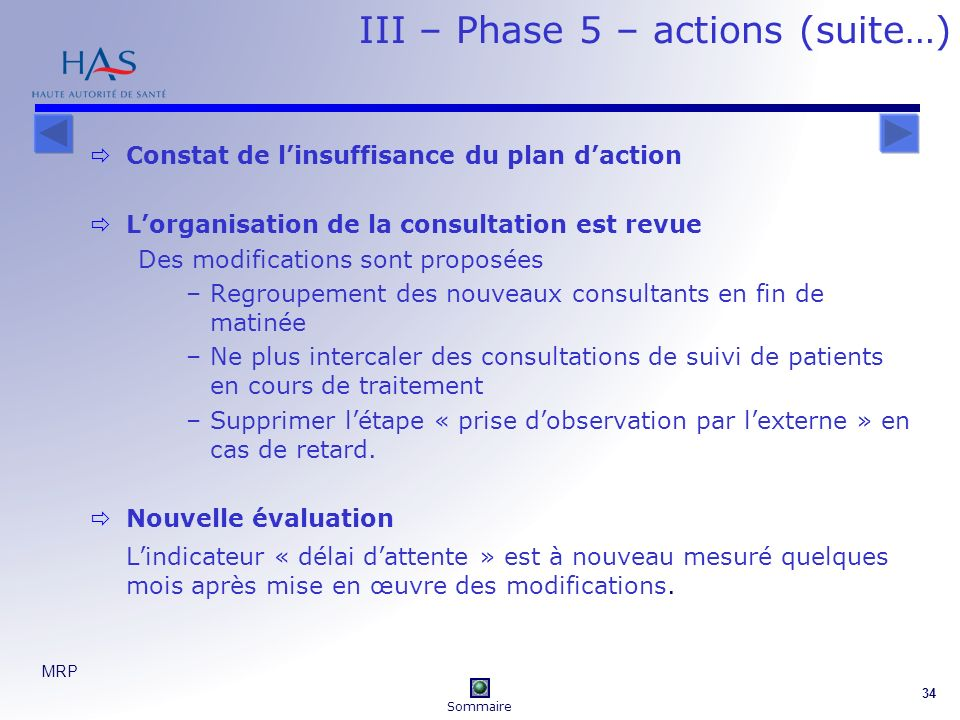 III – Phase 5 – actions (suite…)