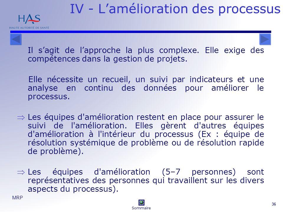 IV - L'amélioration des processus