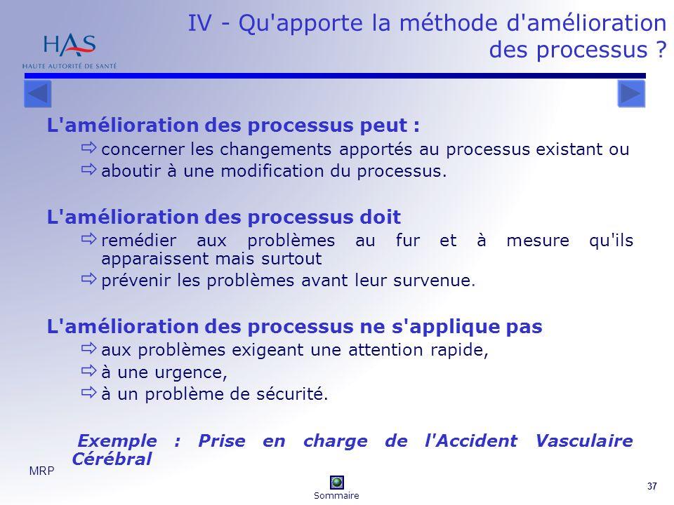 IV - Qu apporte la méthode d amélioration des processus