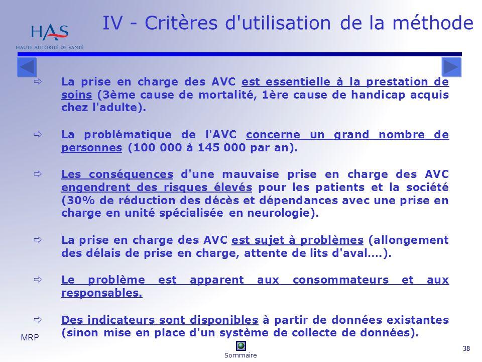 IV - Critères d utilisation de la méthode