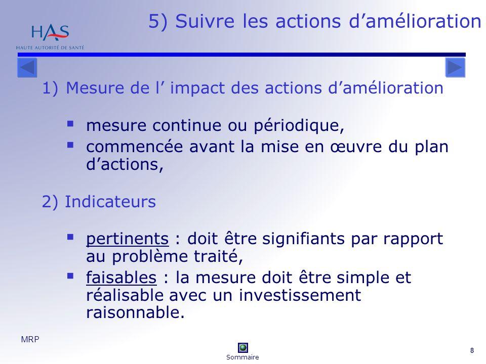 5) Suivre les actions d'amélioration